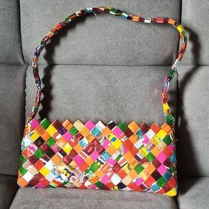 Rainbow wrapper weave handbag purse from Mexico